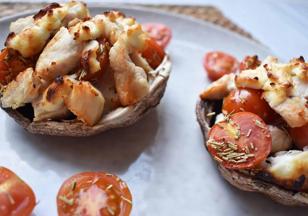 Gevulde portobello met kipfilet en geitenkaas uit de Airfryer